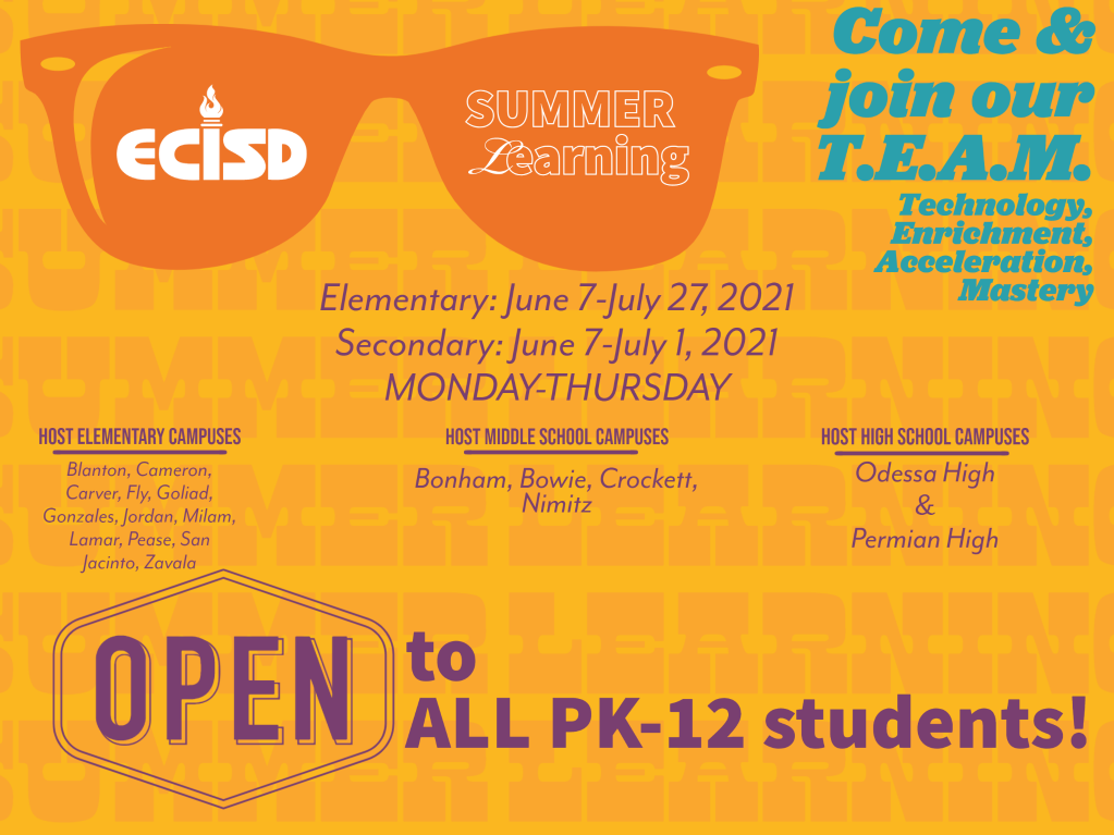Bright yellow slide, orange sunglasses with ECISD Summer Learning in lenses; open to all students